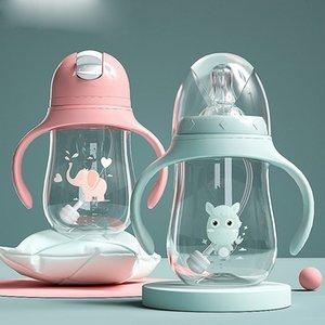 Bottiglie per bambini che bevono tazza di tazza di alimentazione bottiglia ampia calibro multifunzionale latte bevuto acqua potabile bottiglia doppio uso
