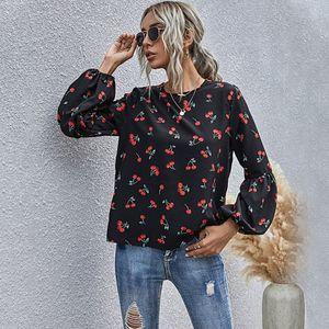 2021 Autunno Europeo e Americano T Shirt da donna T-shirt Fruit Pattern Neck Neck Casual a maniche lunghe signore moda moda