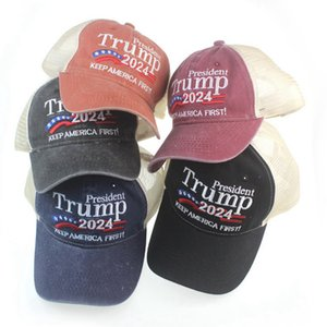 دونالد ترامب 2024 قبعة بيسبول خليط غسلها في الهواء الطلق تبقي أمريكا الأولى قبعة في الرياضة في الهواء الطلق المطرزة ترامب شبكة القبعات CYZ3069 30 قطع