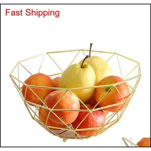 Food Sets Housekeeping Organization Home & Gardenmodern Wrought Irons Mesh Wire Bowl-Gold Rose Gold Fruit Basket Storage Organizer For Kitch