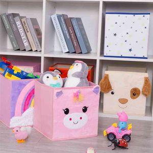 Haojianxuan Cube Boîte de rangement non tissé pliable de bande dessinée enfants enfants jouets de poitrine et de placard 210330