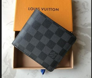 lvLOUISBAGVITTONParis plaid style mens wallet fashion men purse special canvas multiple short small bifold wallets with box