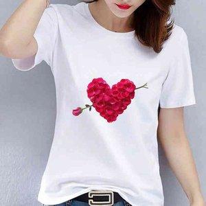 Camiseta impresa de moda y iinteresting para las mujeres Harajuku Lovely top Plus Size S-3XL CN (Origin) Casual