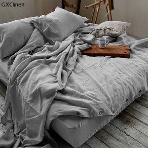 Couverture de couette en lin française 100% Pure Set Nature Lin Tissu Literie pour les personnes sensibles à la peau et aux dormeurs 210615