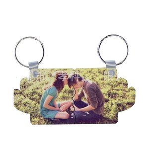 Valentine Day Key Buckle Sublimation Blank Rectangle Wing Shape Chain Metal MDF Ring DIY Pattern 3 4exa L2 C96W