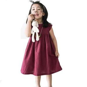 Girl's Dresses Baby Girls Dress Summer Toddler Kids Linen Cotton Casual Party Princess Vestido Children Clothing Korean Girl Costume