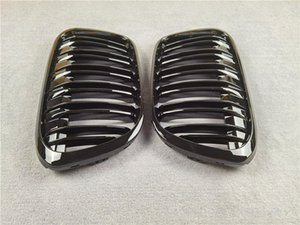 Pair F48 Double Slat Line Car Mesh Grille For BMW X1 F49 2016-2019 Glossy Black Front Kidney Grill Grilles