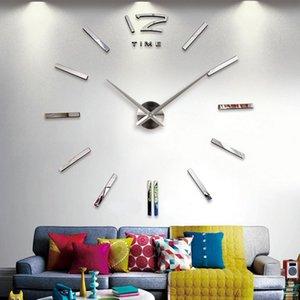 벽시계 탑 패션 시계 시계 3D Horloge DIY 아크릴 미러 스티커 Reloj de 홈 장식 거실 석영 바늘