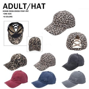 Fashionable Leopard Print and Solid Color Cross Ponytail Hats Baseball Cap Spring Summer Outdoor Sunshade Caps Party Hat DB672