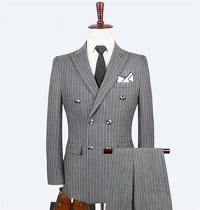 2020 Stripe Mens Suit Three Piece Large Size Double Breasted Valentino Multi Button Costumes De Smoking Pour Hommes