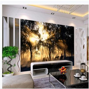 Photo sunset forest beautiful scenery wallpapers 3d murals wallpaper for living room