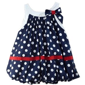 Girl's Dresses Baby Girls Casual Princess Clothes Children Wear Summer Cotton Dots Cute Bows 0-2Y B4782