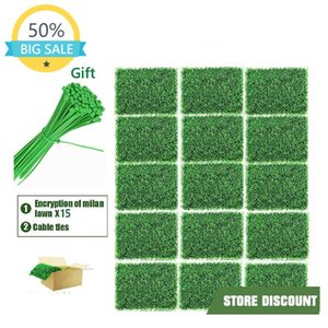 15Pack Artificial Boxwood Grass Backdrop Panels Hedge Plant, UV Protected Privacy Screen Faux For Outdoor, Indoor Decorative Flowers & Wreat