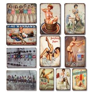 Retro Sexy Beleza Menina Metal Placa Lata Sinal Vintage Banheiro Decoração Placa De Metal Pin-Up Poster Home Decor Adesivos