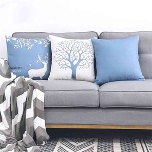 Pillow Case Nordic style elk cotton hemp modern back cushion living room home sofa pillow cover not includedPillow JGGV