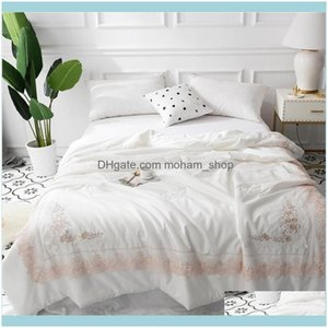 Comforters Bedding Supplies Textiles Home Gardencomforters & Sets Luxury 60S Egypt Cotton Summer Quilt Embroidered Pearl Applique Duvet Fill