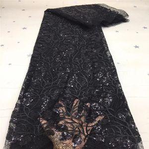 2020 черный высококачественный африканский кружевной ткань органза французская чистая вышивка 3D-блестки тюль кружевная ткань для нигерийского вечеринка платье