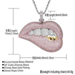 Hip Hop Bling Big Pendant Micro Pave Pink Cz White Yellow Tooth 5A Zirconia Rope Chain Drip Lip Necklace Drop Necklaces