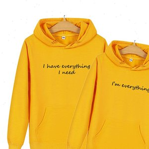 Women Hoodies Men Matching Clothes for Couples I Have Everything Need Am Letter Print Couple Pullover