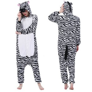 Anime Costumes Flannel cartoon one-piece pajamas men and women cute couple models zebra animal performance clothing cosplay