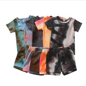 Baby Clothings Sets Pit Strip Tie-dye Suit Stripe Short Sleeve Sweatshirt + Breeches 2PCS Set Boy Girl Kids Cotton Suits ZYY1004