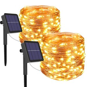Strings 1 2 Pack Solar String Lights Outdoor Copper Wire Twinkle Christmas Fairy Garland Light For Patio Trees Party Decor