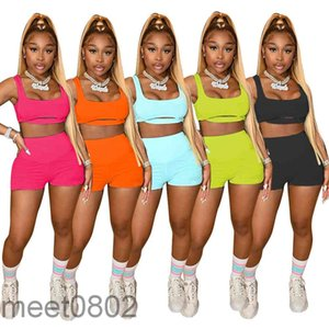 women's tracksuit 2021 summer sports solid color color burnt out vest pleated tight shorts two piece sets fashion casual Sportswear