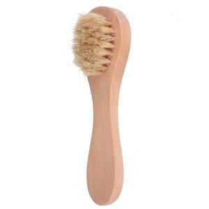 Лицо очистки щетки для отшелушивания лица натуральные щетинки отшелушивающие лица для сухого чистки с деревянной ручкой LX2781 583 S2