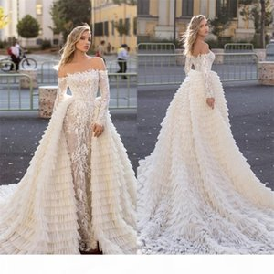 Luxury Mermaid Wedding Dresses With Detachable Train Appliqued Lace Tiered Bridal Gowns Long Sleeves Custom Made Long Wedding Dress