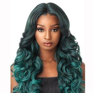 Perruque synthétique turquoise vert d'eau pour femmes noires longues onduleuses onduleuses haute température Wigs sans glualité Cosplay résistant thermique 24 pouces