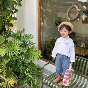 Boys girls puppy embroidery long sleeve shirts kids pure cotton Embroideried collar Tops clothes 210708