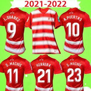 21 22 Granada CF Jerseys de futebol Molina Soro Germán L. Suárez A.Puertas 2021 2022 Domingos D. D.Machis Azeez C.Neva Red Home Away 3ª Camisa de Futebol Uniformes Tops Qualidade