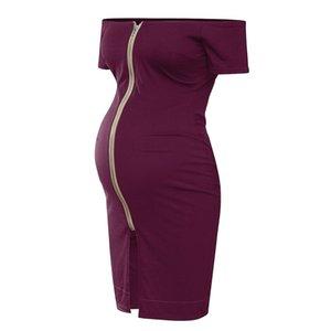 Bunvel Yaz Annelik Elbiseleri Omuzsuz Slash Boyun Gebelik Giysileri Katı Renk Fermuar Bodycon Hamile Kadınlar Sundresses 423 Y2