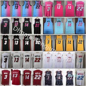 2021 Top Quality Dwyane 3 Wade Jersey Jersey Jimmy 22 Butler Mens Tyler 14 Herro Bam 13 Adebayo Preto Branco Amarelo Azul Azul Pink Jerseys