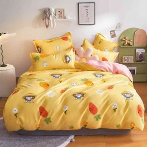 Simplicity Duvet Cover Girl Flower Bedding Set Pillowcase Bed Sheet Bedspreads Bedroom Cartoons Bedcolthes Size Single 150x200