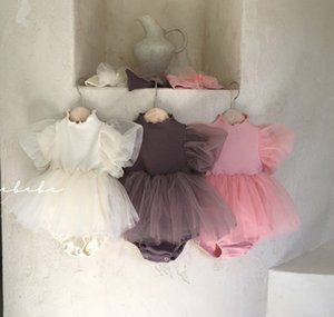 INS Baby girls lace tulle tutu rompers summer infant puff short sleeve jumpsuits with Bow headband toddler kids cotton clothes A6482
