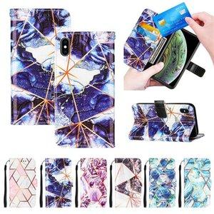 PU Couro Flip Carteira Capas para Samsung A82 A12 A52 A22 A32 A42 A72 5G S21FE Mármore ID de ID do telefone