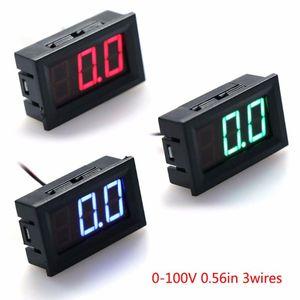 Voltage Meters DC 0-100V 3-Wire Voltmeter LED 0.56in Digital Meter Panel Monitor Tester Tools