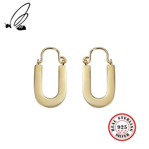 Real 925 Sterling Silver Letter U Hoop Earrings Gold Frosty Style Simple Wild Elegant Chic Female Earing Fashion Jewelry & Huggie