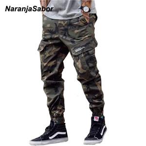 Naranjasabor Mens Camo Tooling Style Pantalones 2020 Spring Camuflaje Multi Bolsets Pantalones Masculinos Ropa de marca más Tamaño 46 N646