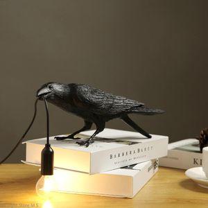 Night Lights Nordic Bird Table Lamp Modern Ligh Led Desk Lucky Living Room Bedroom Bedside Raven Home Decor Fixture