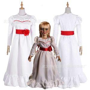 Women Child Kid Halloween Costumes ConjingDoll Annabelle White Dress Horror Scary Female Wear Cosplay Fancy Dress trajes de mascote