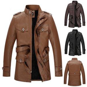 2019 New Fashion Autumn Male Leather Jacket Men's Autumn Winter Fashion Velveted Zipper Pure Color Imitation Leather Coat L-3XL