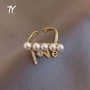 Design Sense Irregular Pearl Love Letter Gold Opening For Woman Rings Korean Fashion Jewelry Goth Party Girl's Unusual Ring Set Y0420