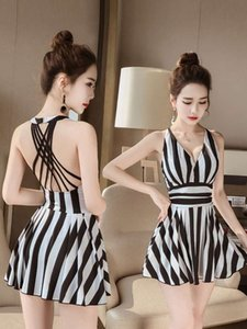 dresses Swimsuit girl 2021 new hot spring cover belly show thin one-piece sexy big size fairy fan conservative