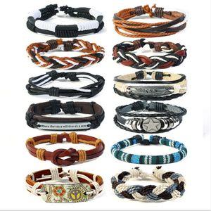 Luxury Designer 12pcs lset ss Stylish Charm Wrap Multilayer DIY Leather Braid hemp Bracelets Jewelry For Men Women Mix Style
