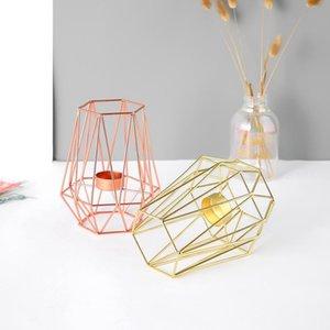 Rose Gold Nordic стиль кованые железа геометрические подсвечники для дома украшения дома металлические ремесла для помещения свечи декоративные держатели