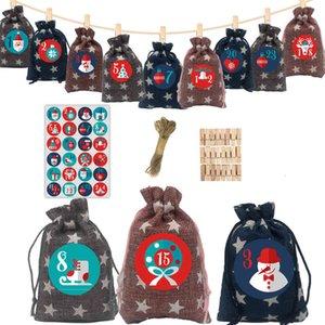 Calendar Christmas Five Pointed Star Linen Bag Arrival 24 Digital Sticker Candy Gift Storage Set