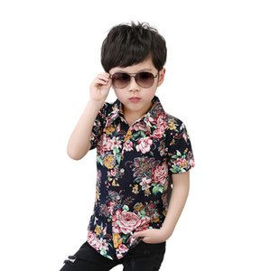 INS Summer Kids Boys Floral Shirts Printting Soft Cotton Gentlemen Tops
