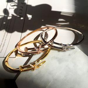 Stainless Steel Nail Bracelet Inlay Diamond Screw Nail Cuff Bracelet Women Men Luxury designer jewelry for Women with box